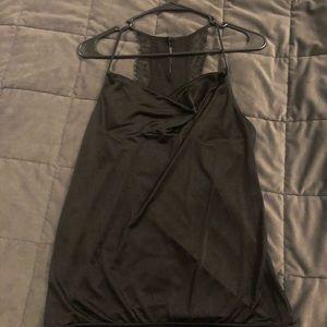 Lace/silk black spaghetti scrap top